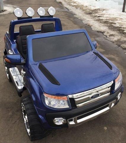 Электромобиль Ford Ranger синий (двухместный, кожа, резина, пульт, музыка, ГЛЯНЦЕВАЯ ПОКРАСКА)
